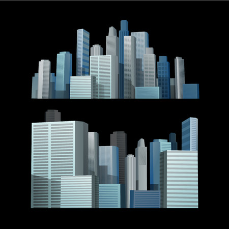 composition: Blue building city in front of black background Illustration