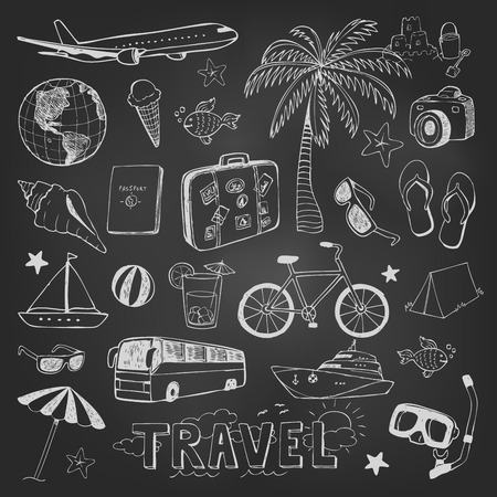 icon: Travel doodles vector icons sketch on black chalkboard