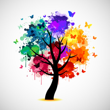 paint splash: Colorful tree background with ink paint splat and butterflies