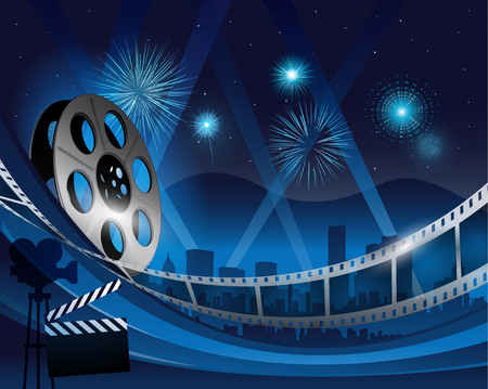 Blue film reel movie background in front of hollywood city at night