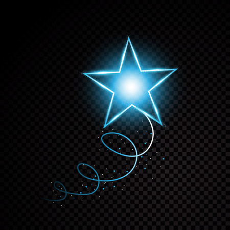 Blue glittering spiral star dust trail sparkling particles on transparent background. Space comet tail. Vector glamour fashion illustration