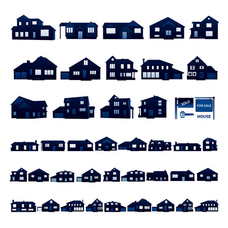 real: Blue residential house silhouette isolated on white