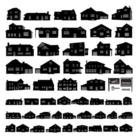 two storey: Black residential house silhouette isolated on white