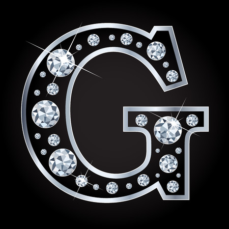 diamond letters: G vector letter made with diamonds Illustration