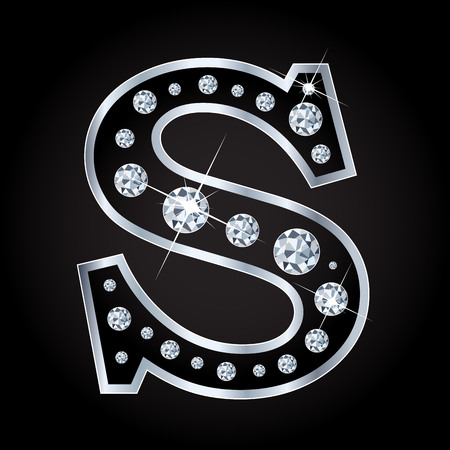 Vector S letter made with diamonds isolated on black background