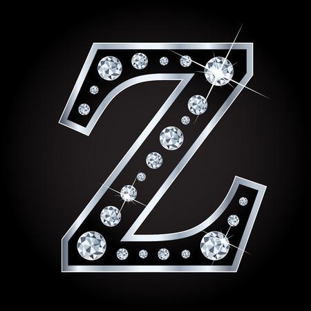 fashion: Vector shiny diamond letter isolated on black
