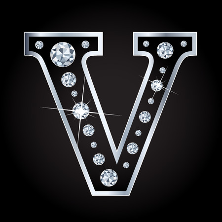 diamond letters: Vector shiny diamond letter isolated on black