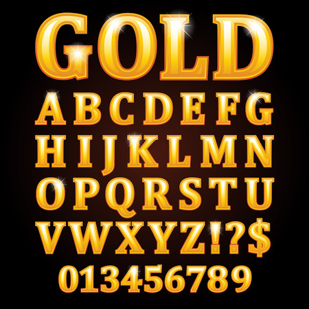 shiny: Gold vector shiny letters isolated on black background