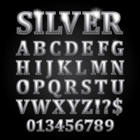 silver background: Silver vector letters isolated on black background Stock Photo
