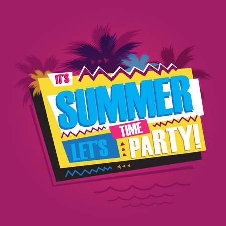 palm: Summer abstract vintage retro banner sign Stock Photo