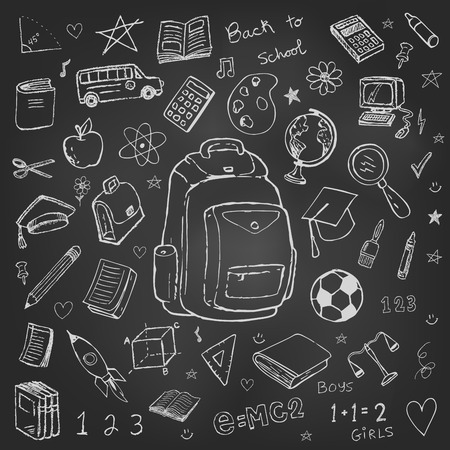 school: Set of back to school vector doodles isolated on white Illustration