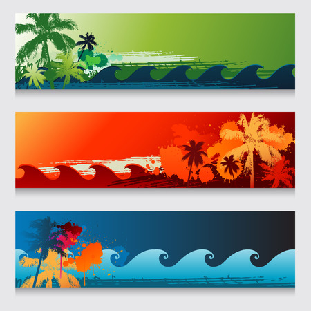 waves: Three summer horizontal beach colourful abstract banners