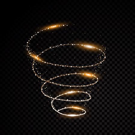 Złoty abstrakcja abstrakcji cząstek spirali czarnym tle Ilustracja