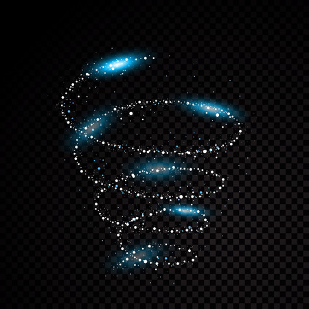 Blue particle abstraction spiral black background