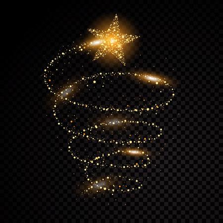 Oro brillante espiral estrellas polvo rastro partículas brillantes sobre fondo transparente. Cola del cometa del espacio. Vector ilustración de moda de glamour.