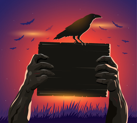 Haloween zombie hands holding a placard and crow in silhouette Ilustrace
