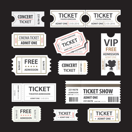 Old cinema tickets for cinema. Eps10 vector illustration. Isolated on black background Stock Photo