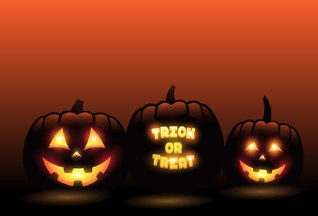 Vector carved pumpkins in front of orange gradient halloween background