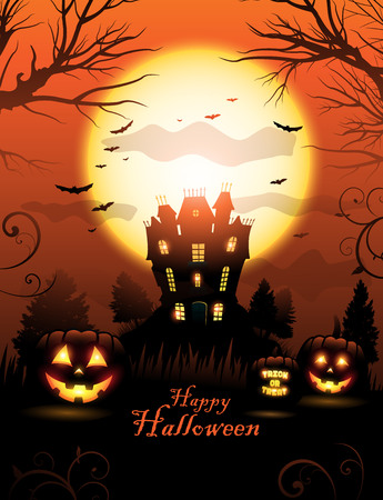 Orange Halloween haunted house background