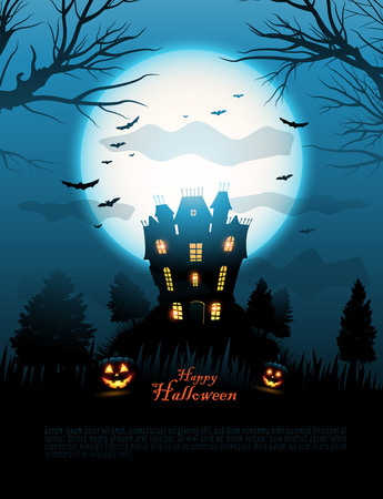 halloween background: Blue Halloween haunted house background