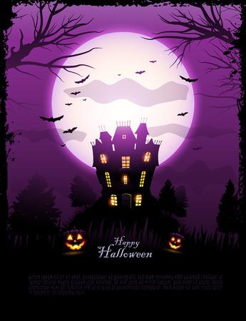 Purple Halloween haunted house background