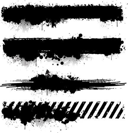 textured: Black ink texture banner