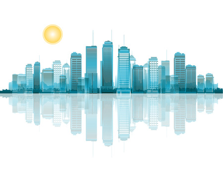 Cityscape with reflection concept.