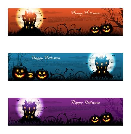 Three colorful halloween haunted house.