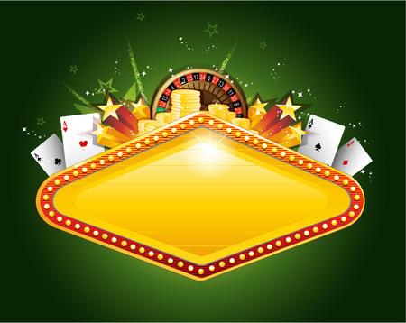 Golden vector casino vegas sign background Ilustrace
