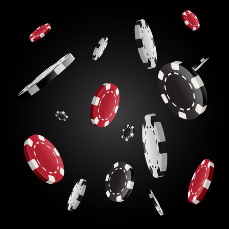 Vector casino poker chips flying and exploding isolated in front of black background