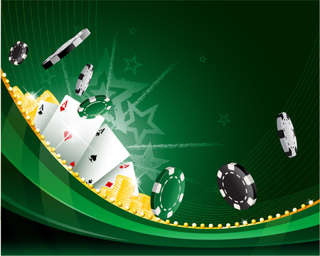 space for text: Green waving abstract vintage casino background with poker chips and leisure playing cards