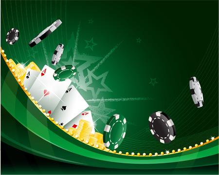 Vert agitant fond abstrait casino vintage avec des jetons de poker et des cartes de jeu de loisirs Illustration