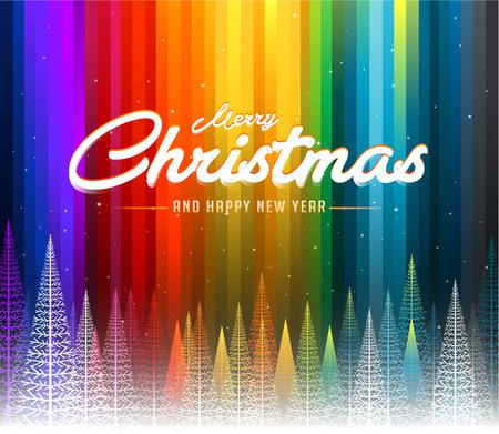メリー クリスマス カラフルな抽象的な線レインボー背景  イラスト・ベクター素材