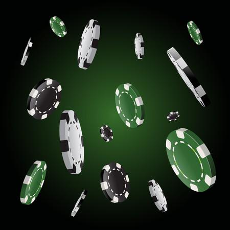 Poker chips stack in black background
