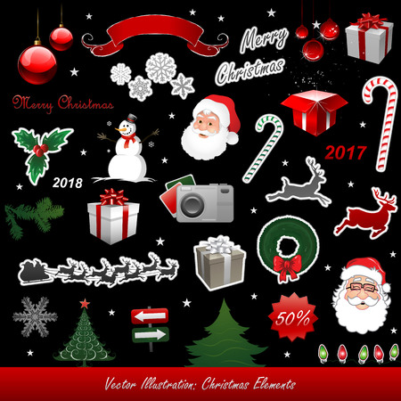 christmas gift: Christmas vector elements isolated on black