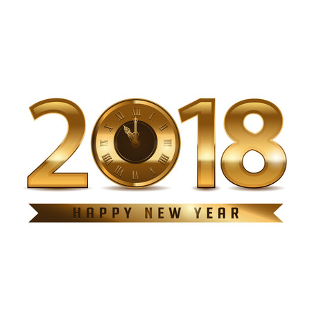 2018 new year golden letters with clock on white background