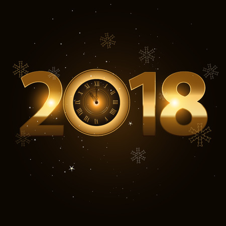 2018 new year gold letters with clock on black background Illustration