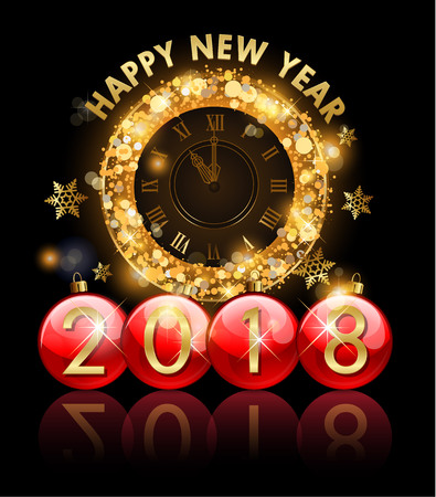 2018 New Year golden clock letters in Christmas ball Illustration