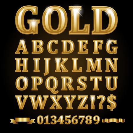 Letras alfabéticas del vector del oro aisladas en negro. Foto de archivo - 85691178