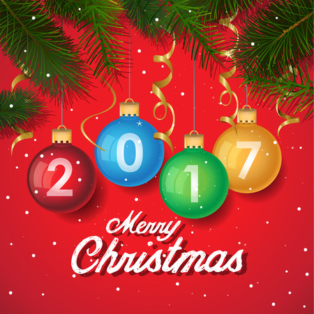 happy new year text: Merry Christmas 2017 decoration poster card background . New Year background with tree branches, snowflakes. 2017 Year symbol