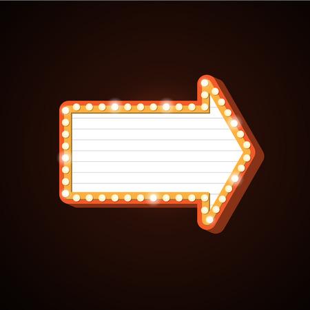 Night Club Billboard Retro Golden Arrow Light Frames Royalty Free ...
