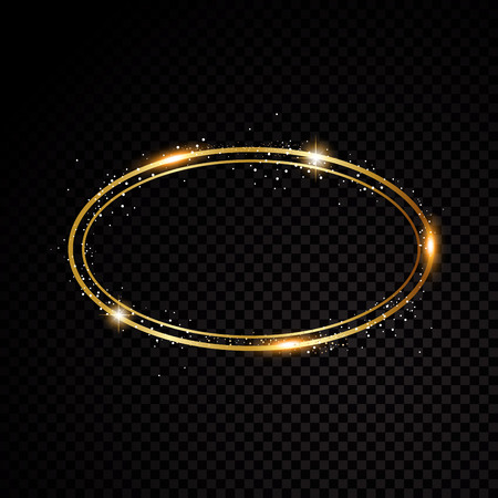 A vector oval frame. Shining circle banner on black background. Illustration