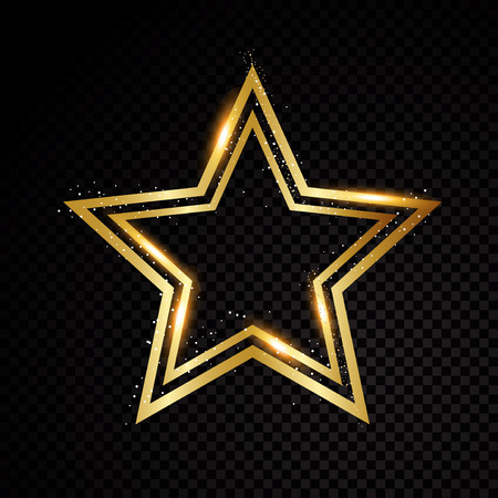 Vector star frame. Shining circle banner. Isolated on black transparent background. Vector illustration