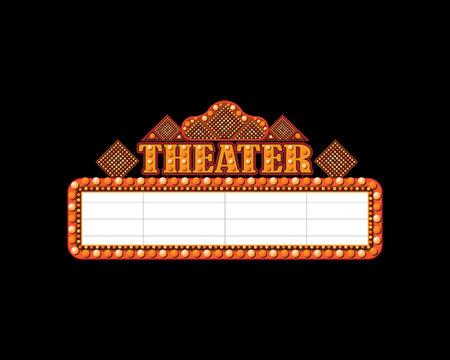 Brightly theater glowing retro cinema neon sign Stock Photo