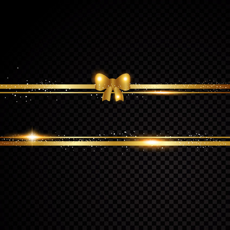 Two golden lines with bow. Isolated on black transparent background. Vector illustration banner Illustration