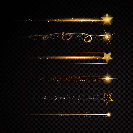 Gold glittering spiral star dust trail sparkling particles on transparent background. Space comet tail. Vector glamour fashion illustration Vettoriali
