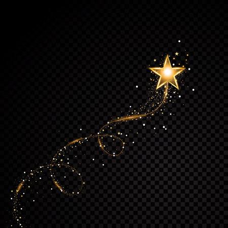 Poussière d'étoile en spirale scintillante d'or.