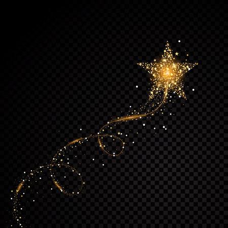 Gold glittering spiral star dust trail.