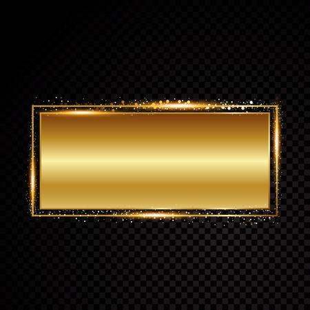 Vector rectangle frame. Shining banner. Isolated on black transparent background Vector illustration