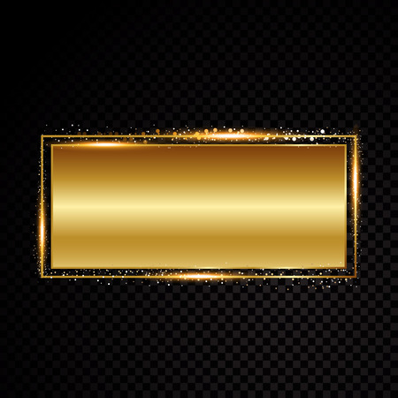 Vector rectangle frame. Shining banner. Isolated on black transparent background Vector illustration